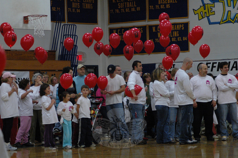 The Leukemia and Lymphoma Society's fundraising event known as a Light The Night Walk was well attended on Saturday, October 24, at Newtown High School. Due to inclement weather, the event, which had been scheduled to occur outdoors, was moved into the school's gymnasium.  (Gorosko photo)