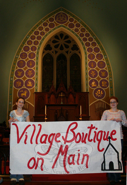Morgan Cutolo and Molly Bryant are two of the Confirmands at Trinity Episcopal Church who are co-ordinating Village Boutique on Main, a fundraiser marketplace to be hosted by the church on November 7. The event will offer a wide variety of goods and services from local merchants, while at the same time raising funds for the church's J2A pilgrimage.  (Hicks photo)