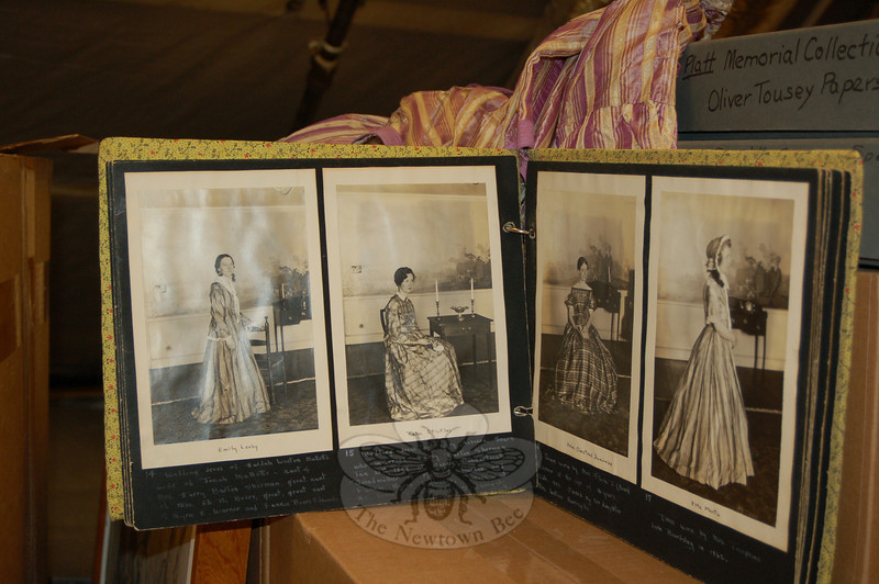 From left, four of the H.N. Tiemann, Sr photos in the recently uncovered 1934 scrapbook of a library fashion show: Emily Leahy models the wedding dress of Huldah Winton Mallette; Reba Stickles models the wedding dress of Mary Rebecca Sears from 1849; the 1858 gown of Mrs Flora Beers is modeled by Helen Olmstead Duncombe; and the 1862 dress of Josephine Lake Beadsley is modeled by Etta Martin.  (Crevier photo)