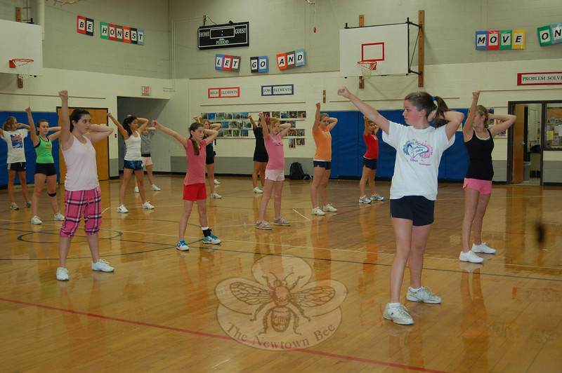 Tryouts for the Newtown Middle School Cheerleaders began Monday, October 26.  (Hallabeck photo)