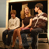 Newtown High School students attended rehearsal on Friday, October 23, for the upcoming fall play, Lost In Yonkers. Junior Katie McMorran, center, junior Matt Madden, right, and freshman Josh Goldman are featured in the production.  (Hallabeck photo)