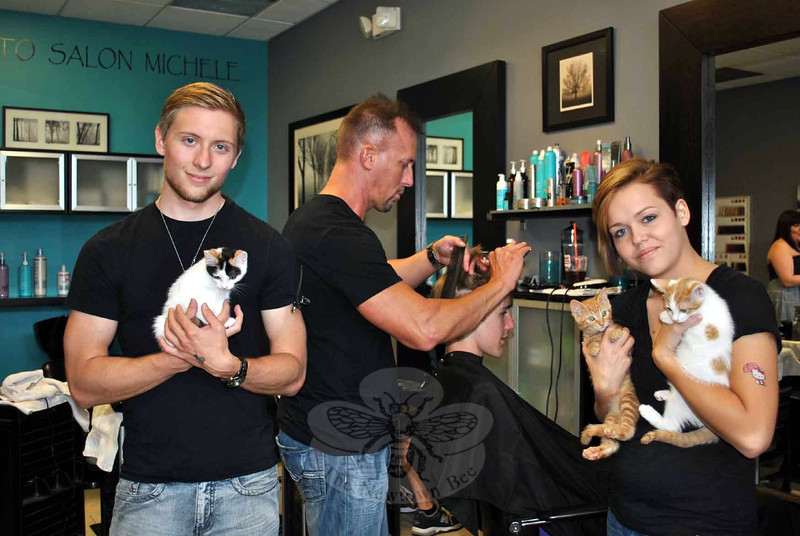Hairstylists Zachary DiBella of Idaho, left, and Alexis Longworth of Ohio, take a break from haircutting to cuddle Kitten Associate representatives Gracie (in Mr DiBella's hands), Jelly Bean Mel, and Confetti Joe. Mr DiBella and Ms Longworth are traveling through the United States with Patrick Lomantini, cutting hair in every state and raising funds for animal rescue. (Crevier photo)