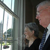 "Sutherland ""Bill"" Denlinger and his wife Pat take in the view from their new law practice at 33 Main Street. The local attorney who specializes in land use issues has reestablished his law practice in town after a period of battling several life-changing health issues.  (Voket photo)"