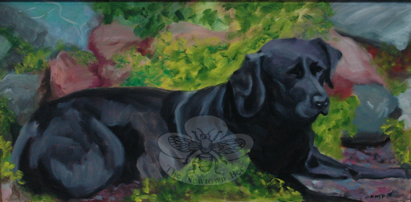 """Eclectica,"" an exhibition of paintings and bronze sculptures by the Newtown resident Anne Marie Foran opened Sunday, September 12, in the lower meeting room at C.H. Booth Library. Several pieces, like this one, feature the couple's favorite pets.  (Voket photo)"