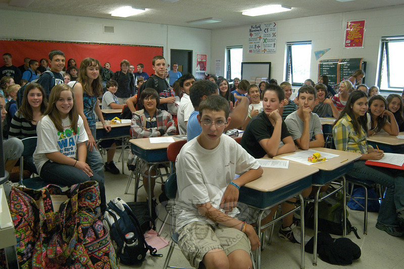 Newtown Middle School seventh and eighth grade students interested in running for this year's Student Council gathered in math teacher Linda Dale Mulholland's classroom on Monday, September 13, to learn from both Ms Mulholland and language arts teacher Nadia Papalia about the process of applying for a position on the council and requirements of council members.  (Hallabeck photo)