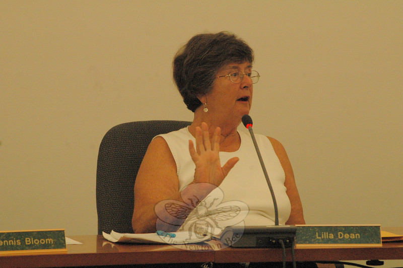 Planning and Zoning Commission (P&Z) Chairman Lilla Dean speaks at a recent P&Z session at which panel members discussed the continuing update of the 2004 Town Plan of Conservation and Development.  (Gorosko photo)