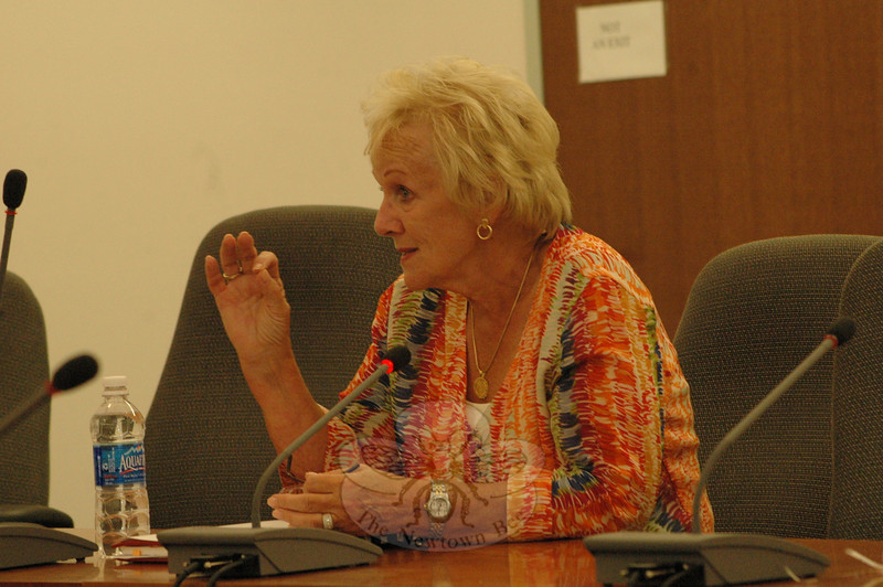 First Selectman Pat Llodra makes a point at a recent Planning and Zoning Commission (P&Z) session at which she discussed the relationship between the Board of Selectmen and the P&Z in the ongoing revision of the 2004 Town Plan of Conservation and Development.  (Gorosko photo)