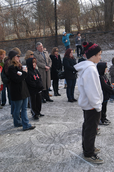 A crowd gathered and celebrated the official ribbon cutting event for Newtown's skate park on Saturday, December 11.  (Hallabeck photo)