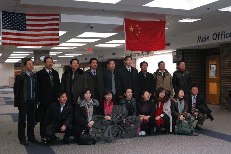 Sixteen delegates from the Chinese Ministry of Education visited Newtown High School on Thursday, December 9, as one of the delegation's stops in Connecticut.  (Hallabeck photo)