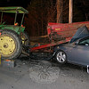 All four people involved in a Christmas night accident that involved a farm tractor and its manure spreader and a Hyundai Elantra were able to walk away from the scene with relatively minor injuries.  (Hicks photo)