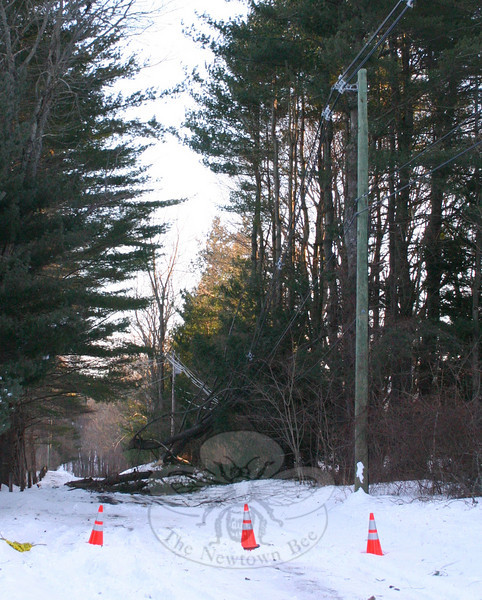 A section of Castle Meadow Road was closed for more than 30 hours after a tree fell and pulled a utility pole and its transformer with it. CL&P was able to replace the damaged equipment late Tuesday afternoon.  (Hicks photo)