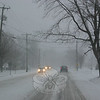 The first snow storm of the 2010-11 season arrived exactly as predicted on Sunday, December 26. By midafternoon, roads were already very slick and nearly deserted, as seen in this photo taken on Church Hill Road around 3. Wind and snow continued steadily until the following afternoon, creating treacherous conditions and keeping town crews and private contractors busy for nearly 30 hours. Surprisingly, The Weather Center at Western Connecticut State University announced that while many surrounding towns were in fact hit with a blizzard, Newtown was not.  (Hicks photo)