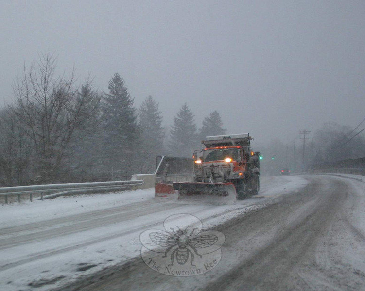 More familiar in northern New England and on interstates, a wing plow on this state truck helped its driver clear a section of Church Hill Road.  (Hicks photo)