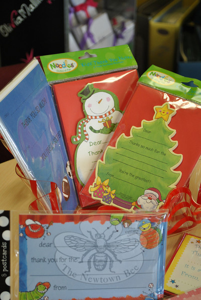 Fill-in-the-blank thank you cards, such as these at Truly Yours in Bethel, are a fun and sim-ple way to get children into the habit of writing thank you notes.  (Crevier photo)