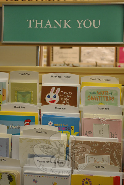 Thank you cards to suit every personality and every occasion are readily available in area stationery stores. Classic styles are ideal for business situations, while young people find the designer lines tempting.  (Crevier photo)