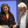"""Former Newtown Historical Society president Elin Hayes and town historian Dan Cruson discuss something prior to Mr Cruson's presentation of """"A Newtown Miscellany: What's New That's Old"""" on January 10. The lecture was the annual offering by Mr Cruson.  (Hicks photo)"""