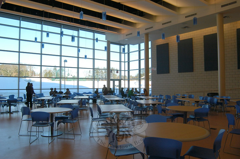 Students sat in the Newtown High School addition's cafeteria on Monday, January 10, the first day the new addition was open for use.(Hallabeck photo)