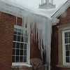 The recent freeze-thaw cycle that followed a series a snowstorms has caused some very large icicles to form on Newtown Municipal Center at Fairfield Hills. This impressive set of icicles was spotted midday on Wednesday near the southern entrance to the building.  (Gorosko photo)