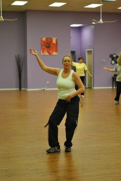 """Z Place For Fitness member Jill Rosenkranz of Newtown, at a recent class, loves the work-out offered by Zumba. """"I've always loved to dance, but I hate exercising. I love Zumba, though,"""" says Ms Rosenkranz.  (Crevier photo)"""