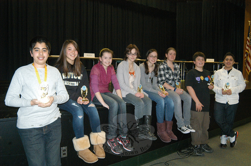 Newtown Middle School students participated in this year's National Geographic Geography Bee on Friday, January 14. Akash Ahuja, left, holds his winning medal for winning this year's competition at the school.  (Hallabeck photo)