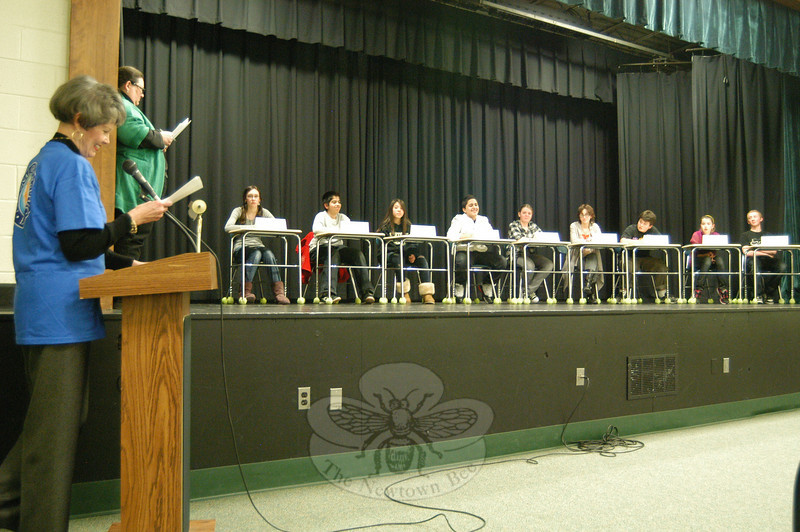 Newtown Middle School Principal Diane Sherlock, left, acted as moderator for her school's National Geographic Geography Bee.  (Hallabeck photo)
