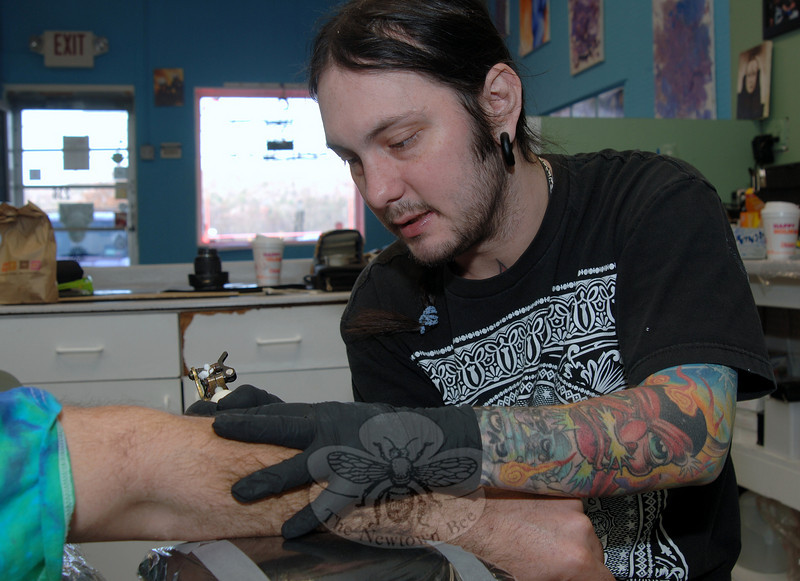 Brian Galian is the owner of Patience Rose Tattoo, just over the Monroe town line on Route 34. He has been honing his skill since he was 15 years old.  (Bobowick photo)