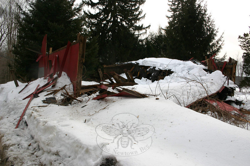 Another historic barn, this one at 130 Boggs Hill Road, collapsed this week.  (Hicks photo)