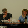School Board Chair William Hart and Vice Chair Debbie Leidlein considered changes in the 2011-12 school budget on Tuesday, February 8.  (Hallabeck photo)