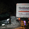 Police report a two-vehicle nighttime accident on South Main Street at its intersection with Swamp Road. The incident occurred about 6:30 pm February 6. Motorist Defrim Cenkolli, 47, of Woodbury, who was driving a 2004 Hyundai Santa Fe SUV, was attempting to make a left turn from Swamp Road onto southbound South Main Street, as motorist Steven Champagne, 28, of Wolcott/Waterbury was driving a commercial 1994 Ford box truck northward on South Main Street, and the two vehicles collided. Defrim Cenkolli and Hyundai passenger Aurela Cenkolli, 37, of Woodbury were both transported to the hospital. The accident is under investigation. After checking records, police determined that Champagne was wanted on a warrant stemming from a past incident in Bridgeport. Police then charged Champagne with second-degree failure to appear in court and with driving while under suspension. Champagne was released on $300 bail for a February 23 appearance in Bridgeport Superior Court.  (Hicks photo)