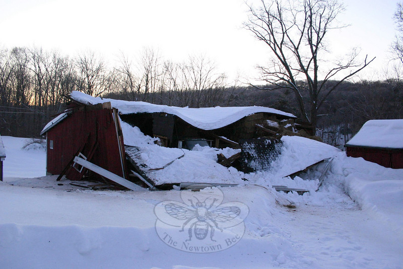 The largest barn on the Staudinger property at 57 Pole Bridge Road caved in on Febraury 3. Because of the way the roof formed a hammock when it fell, Joyce Staudinger pointed out, a truck that was parked inside the building was largely unscathed.  (Hicks photo)
