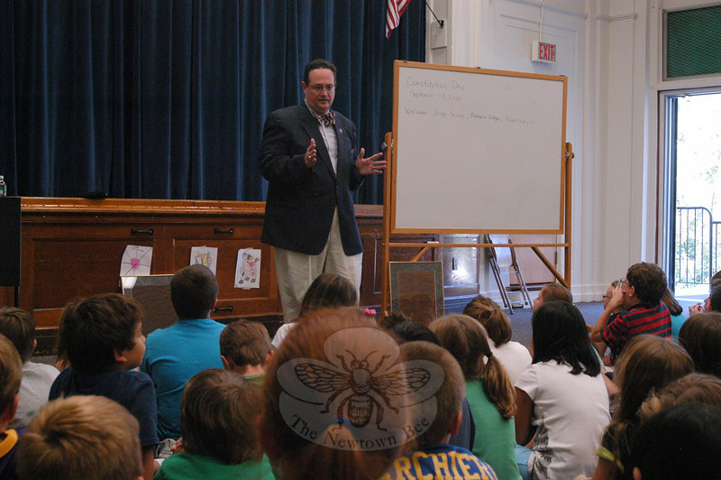 Joseph P. Secola, Brookfield's judge of probate, spoke to Hawley School third and fourth grade students on Friday, September 17, for US Constitution Day, which is recognized each September 17. Attorney Secola told the students the law is king in the United States, and the Constitution is the law.  (Hallabeck photo)
