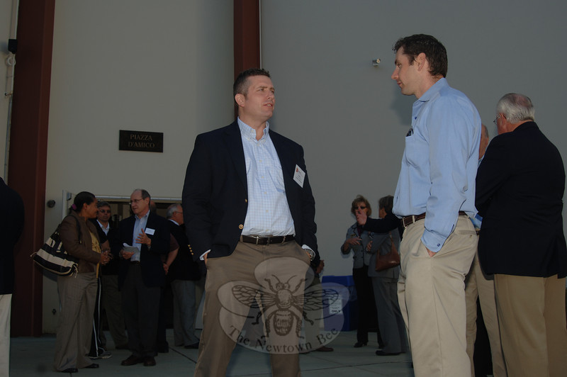 Realtor Bryan Atherton with Matt D'Amico, whose father Peter owns and built Newtown Youth Academy.  (Bobowick photo)