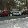 A three-vehicle accident on southbound South Main Street, just north of its southern intersection with Peck's Lane, caused extended travel delays in that area starting at about 3:05 pm February 14. Southbound motorist Samuel Gates, 56, of 69 Main Street, who was driving a 2004 Jeep Liberty SUV, stopped for traffic conditions, after which southbound motorist Michael Ottoshavett, 32, of 117 Huntingtown Road, who was driving a 1998 Honda Civic se-dan, stopped behind the Jeep, police said. Southbound motorist Cody Williams, 17, of 10 Washbrook Road, who was driving a 1995 Ford pickup truck, then attempted to stop, but struck the rear end of the Honda, pushing the Honda into the rear end of the Jeep. Michael Ottoshavett and Honda passenger Lisa Ottoshavett, 32, of the same address, were injured in the accident. Botsford and Hook & Ladder firefighters responded to the incident, as did ambulance volunteers. Police issued Williams an infraction for following too closely.  (Gorosko photo)