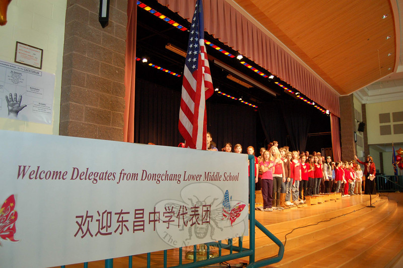 Reed Intermediate School students and faculty members welcomed delegates from Liaocheng Middle School #3 to their school on Thursday, February 10.  (Hallabeck photo)