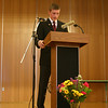 Newtown High School Junior Sean Decker hosted a ceremony on February 10 to formally dedicate a mural he has painted at the high school to honor the Connecticut soldiers killed in Afghanistan and Iraq since March 2002. The ceremony, presented in the high school's new cafetorium, was somber and respectful. The mural was created by Sean for his Junior-Senior Project course.  (Hicks photo)