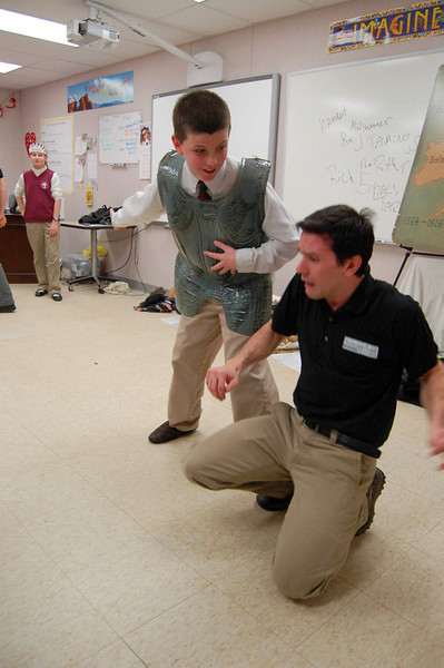 Mike Racioppa reacts during a scene with a St Rose School on February 10. Mr Racioppa was representing Shakesperience during the program.  (Hallabeck photo)