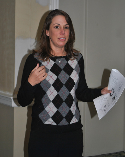 Emphasizing the need for awareness and ways to reduce risk of heart disease in women, Danbury Hospital exercise physiologist Molly Gill speaks at a special VNA breakfast meet-ing, Tuesday, March 1, at Maplewood at Newtown.	 (Crevier photo)