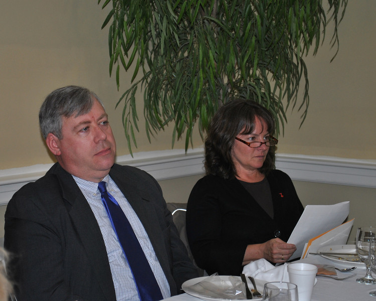 Newtown Selectman Will Rodgers and Health Director Donna Culbert listen attentively to statistics, risk factors, and ways for women to identify and prevent heart disease, the number one killer of women in the United States.  (Crevier photo)