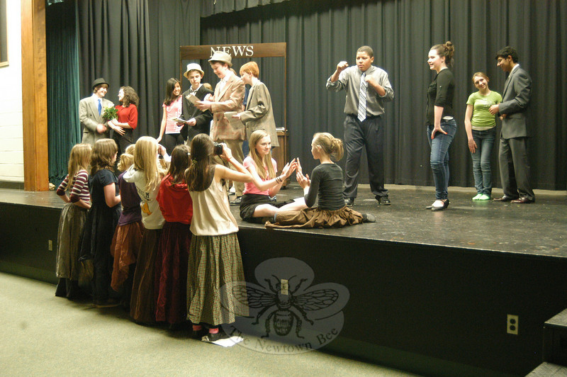 """Newtown Middle School crew members for the upcoming production of """"Guys and Dolls"""" rehearsed on Friday, March 4, for the upcoming show.  (Hallabeck photo)"""