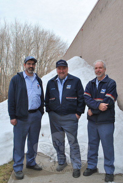 "Looking slightly less furry than earlier this winter, Newtown postal carriers, from left, Chris Myers, Gary Wamser, and John Ogrinc have trimmed beards that they have been growing since late January, in hopes that the recent snow melt is a sign of spring. ""I shave when it gets to 50 degrees when I wake up,"" says Mr Myers, who grows a beard every winter. This year, Mr Myers made a pact with fellow carriers not to shave until all of Newtown's troublesome snow has melted away. A fourth carrier, Dave Sabia, was also in on the ""No Shave Winter,"" begun as a way to boost morale under this winter's particularly trying circumstances.  (Crevier photo)"