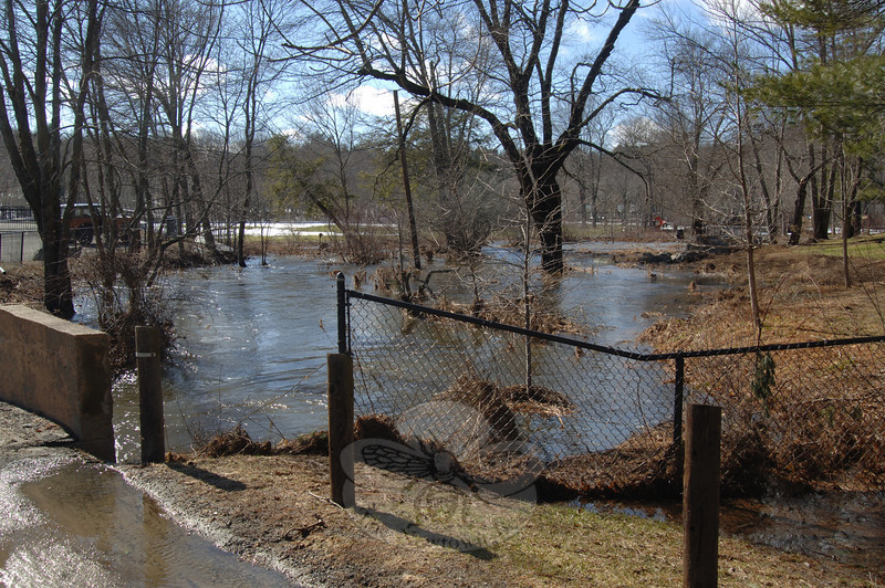 Dickinson Park was not immune to the overflow of Deep Brook this week, as seen here, looking into the park from Brushy Hill Road.  (Bobowick photo)