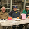 John Spero, Mike Lucas, and Don DeMarco, from left, were at the door collecting admission fees for the dinner first Friday Fish Fry this Lenten season at St Rose on March 11. The event will continue March 25 and April 1. Dinner includes fresh friend fish and fries, coleslaw and a soft drink. Macaroni and cheese is also available for those who do not like fish.  (Hicks photo)