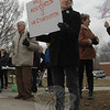 About 30 attendees gathered for a brief rally Tuesday afternoon in front of Newtown Middle School. (Voket photo)