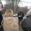MoveOn.org pro-rally organizer and Newtown resident Dr Curt Riebeling addresed those who joined him during a brief rally in front of Newtown MIddle School on March 15.  (Voket photo)