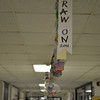 Nearly 1,000 members of the Newtown Middle School community were invited to take part in the Draw On! Aldrich Contemporary Art Museum project this year, creating a colorful paper chain that stretches far down the school's main level hallway. Draw On! invites people to rediscover the joy of drawing, says art teacher Arlene Spoonfeather, and this year's artists used his or her own name and elaborated from there in a variety of mediums.  (Crevier photo)