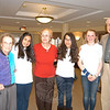 """Lockwood Lodge residents stood with the Newtown Middle School volunteer group """"Senior Smiles"""" on Friday, April 1. From left are Fran Ballard, Maria Labati, Florence Montreys, Alondra Marmolejos, Alyson Montague, and Richard Ayers.  (Hallabeck photo)"""