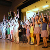 After practicing after school, Hawley students in the Sabrina Encore Production's play Summer's Last Dragon were ready to perform for their fellow students and family members on Friday, April 1.  (Hallabeck photo)