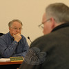 Planning and Zoning Commission member Robert Mulholland, left, listens as Kevin Fitzgerald makes a point during the public hearing.  (Gorosko photo)