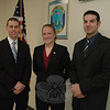 Three new police patrol officers were sworn into office at ceremonies on April 8 at Town Hall South. The recruits will spend the next five months at the police academy, after which they will return to Newtown for field training before assuming independent patrol duty. From left are Matthew Pirhala, Paula Wickman, and Joseph Michael.  (Gorosko photo)