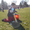 After lining up for the start of the annual Spring Egg Hunt at Dickinson Park on Saturday, April 16, children between age 3 and 8 took off in search of eggs for their Easter baskets, bags, or other assorted collection tools. Special prize eggs were hidden throughout the park, and two Easter bunnies were on site visiting with the eventgoers.  (Hallabeck photo)